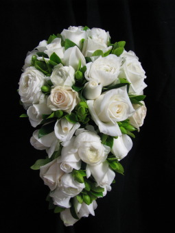 Bridal Wired Bouquet White Roses, White Ranuculas And Lush Foliage