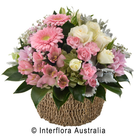 Evelyn Basket Of Mixed Pastel Blooms
